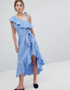 Style Mafia Платье с оборками и открытыми плечами. Цвет: синий