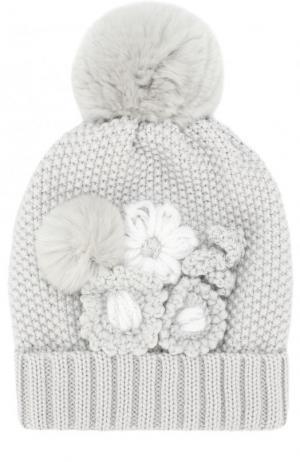 Шерстяная шапка с меховым помпоном и декором Catya. Цвет: серый