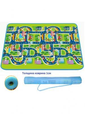 Детский развивающий коврик в рулоне Город односторонний 130х160х1 см Mambobaby. Цвет: синий, зеленый, светло-оранжевый