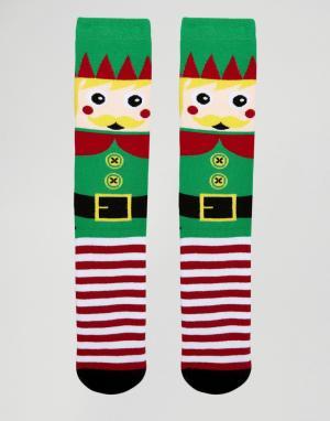 Urban Eccentric Носки-слиперы в рождественском стиле. Цвет: зеленый