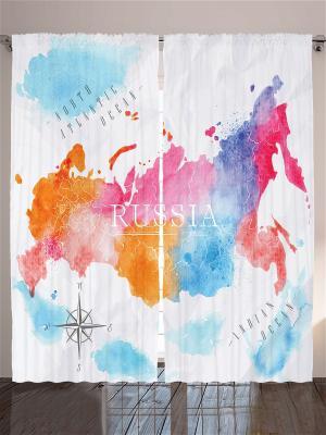 Комплект фотоштор для гостиной Карта России, 290*265 см Magic Lady. Цвет: розовый, голубой, оранжевый