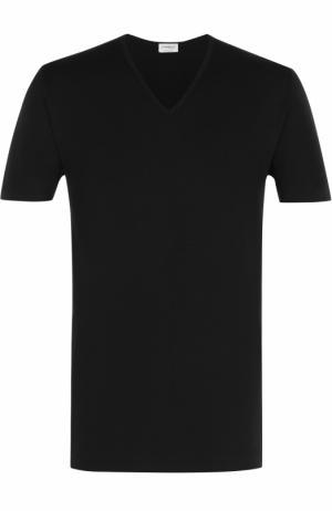 Хлопковая футболка с V-образным вырезом Zimmerli. Цвет: черный