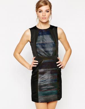 American Retro Платье с полосками цвета металлик Janis. Цвет: черный