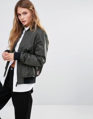 Hunter Утепленная куртка‑пилот Original. Цвет: зеленый