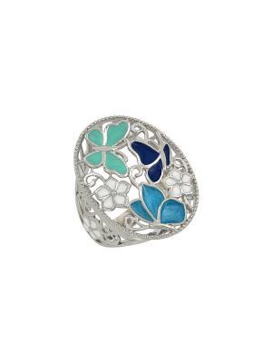 Кольцо с эмалью Магия Золота. Цвет: серебристый
