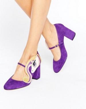 Minna Parikka Фиолетовые туфли на каблуке с отделкой единорог Sparks. Цвет: мульти