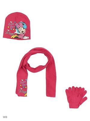Комплект шапка, шарф и перчатки Sun City. Цвет: розовый