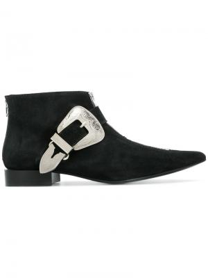 Ботинки с ремешками и заостренным носком Toga Pulla. Цвет: зелёный