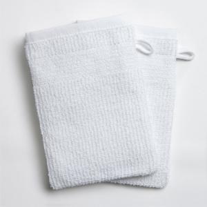 2 рукавицы банных из плетёной ткани рисовое зерно 400 г/м² La Redoute Interieurs. Цвет: антрацит,белый