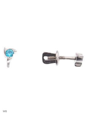 Серьги-гвоздики (пуссеты) ACCENT jewelry. Цвет: голубой