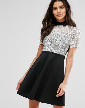 Club L Монохромное короткое приталенное платье с кружевной вставкой. Цвет: черный