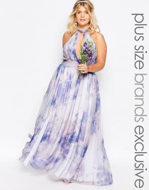 Fame and Partners Plus Платье макси с принтом в пастельных тонах River. Цвет: мульти