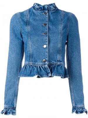 Джинсовая куртка с оборками J.W.Anderson. Цвет: синий