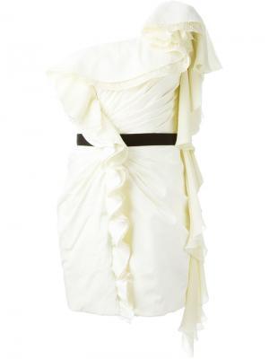 Платье с оборками Daniele Carlotta. Цвет: телесный
