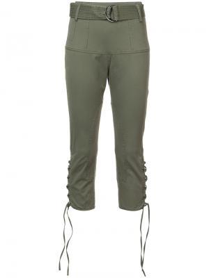 Укороченные брюки с завышенной талией Marissa Webb. Цвет: зелёный
