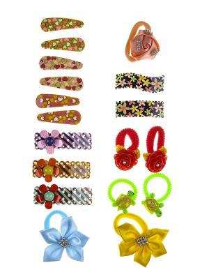 Комплект детский (Резинки - 7 шт., заколки 11 шт.) Happy Charms Family. Цвет: зеленый, желтый, голубой, оранжевый