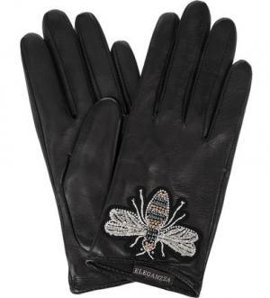 Кожаные перчатки с нашивкой ELEGANZZA. Цвет: черный