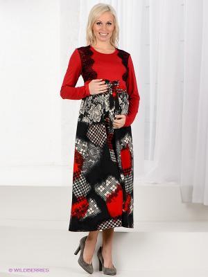Платье Livaa. Цвет: бордовый, темно-серый