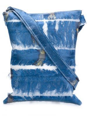 Сумка через плечо с бахромой Luisa Cevese Riedizioni. Цвет: синий