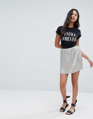 Brave Soul Серебристая плиссированная мини-юбка. Цвет: серебряный