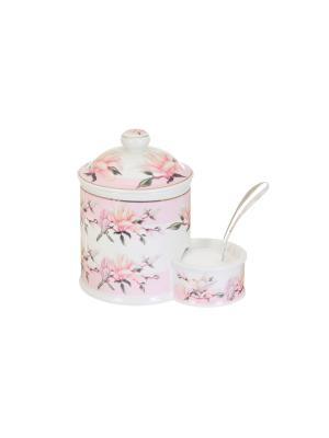 Банка для соли Орхидея на розовом Elan Gallery. Цвет: белый, розовый