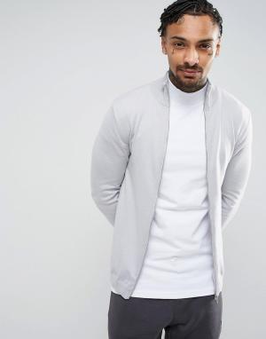 ASOS Светло-серая хлопковая спортивная куртка. Цвет: серый