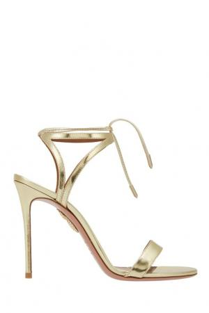 Босоножки из металлизированной кожи Uma Sandal Aquazzura. Цвет: золотой