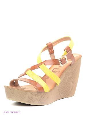 Босоножки Calipso. Цвет: желтый, коричневый