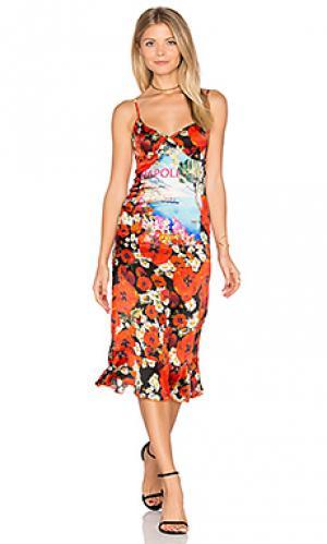 Шелковое платье-комбинация Sauvage. Цвет: красный