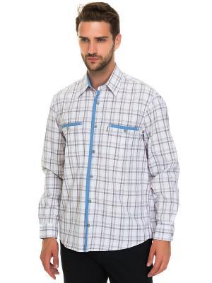 Рубашка Westrenger. Цвет: белый, коричневый, синий