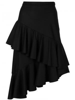 Асимметричная юбка с отделкой из воланов Isa Arfen. Цвет: чёрный