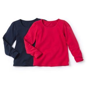 Комплект из 2 футболок с длинными рукавами, 3-12 лет La Redoute Collections. Цвет: белый + ярко-синий,белый/светло-розовый,темно-синий  + розовый,черный + серо-сиреневый