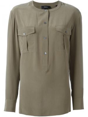 Блузка с нагрудными карманами Theory. Цвет: зелёный