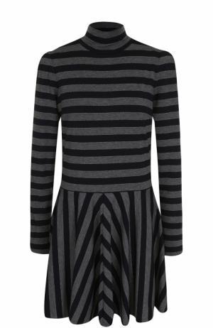 Мини-платье в полоску с воротником-стойкой Marc Jacobs. Цвет: серый