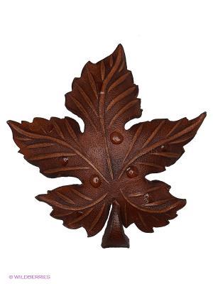 Брошь Осенний лист Мастер ГРиСС. Цвет: коричневый, темно-коричневый