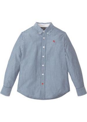 Рубашка с длинным рукавом в полоску (синий/белый полоску) bonprix. Цвет: синий/белый в полоску