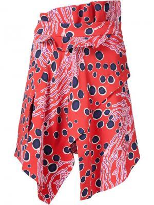 Платье колор-блок Carven. Цвет: красный