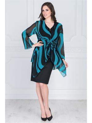 Блузка VERA NOVA. Цвет: синий, черный