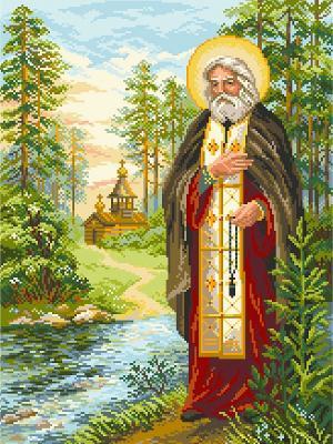 Рисунок на канве Серафим Саровский Матренин Посад. Цвет: зеленый