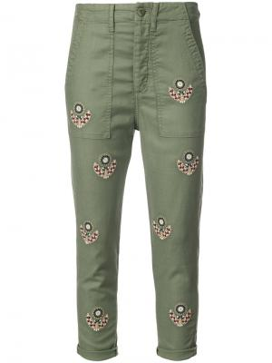 Embroidered cropped trousers The Great. Цвет: зелёный