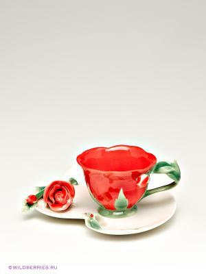 Чайная пара Pavone. Цвет: красный, розовый, зеленый