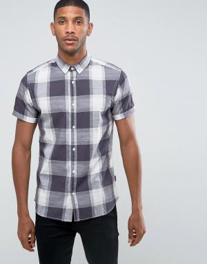 Jack & Jones Рубашка в клетку с короткими рукавами Originals. Цвет: серый
