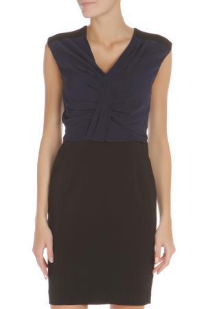 Приталенное платье с V-образным вырезом Liu Jo. Цвет: синий, черный