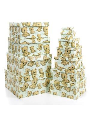 Набор из 11 картонных коробок 5,5*5,5*2,5-25,5*25,5*13см,  Плюшевый улыбака VELD-CO. Цвет: серо-зеленый, темно-бежевый