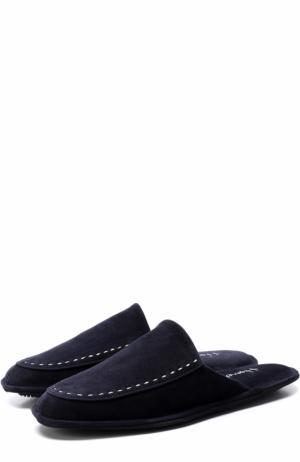 Домашние замшевые туфли с прострочкой Homers At Home. Цвет: темно-синий
