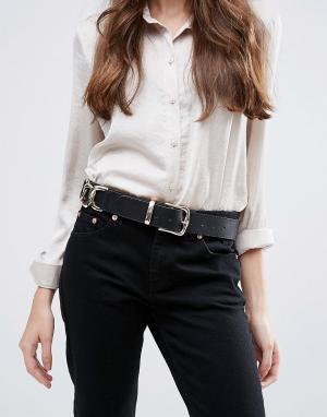 ASOS Ремень под джинсы с цепочками по бокам. Цвет: черный
