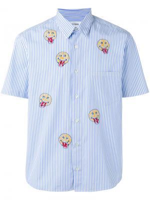 Полосатая рубашка с принтом смайликов Jimi Roos. Цвет: синий
