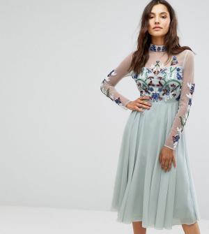 Maya Декорированное платье миди с длинными рукавами и воротником-стойкой Ma. Цвет: синий