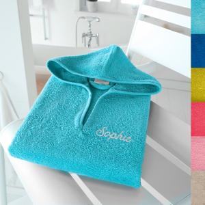 Пончо детское с именной вышивкой, 350 г/м² SCENARIO. Цвет: голубой бирюзовый,гренадин,зеленый  атолл,светло-розовый,синий морской волны