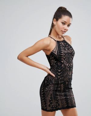 Love Triangle Кружевное облегающее платье мини. Цвет: черный
